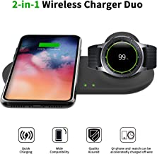 LeafBoat 2 in 1 Wireless Qi Enabled Charger pad &Samsung Galaxy Watch Charging pad Holder Compatible with Qi Enabled Smart Phones and Select Samsung Watches 42mm/46mm Gear S3/S2/Sport (Black)