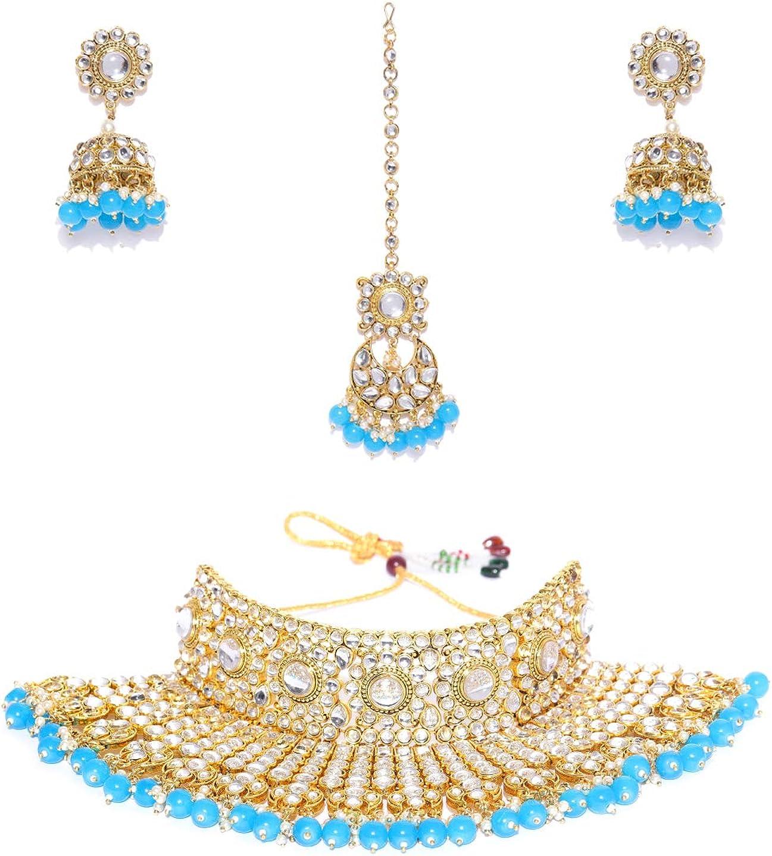 Joyeria Zircon Fashion Indian Traditional Choker Style Gold Plated with Crystal Drop Stone Polki Necklace with Tikka Set