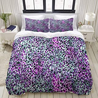 """Mokale Bedding Duvet Cover 3 Piece Set - Purple and Grey Leopard Animal Pattern - Decorative Hotel Dorm Comforter Cover with 2 Pollow Shams - Full 80""""X90"""""""