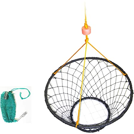 KUFA Rubber Wrapped Steel Crab Trap Ring (Size:ø30) with 50' Rope & Bait Bag CT88+BAG7