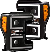 AnzoUSA 111388 Projector Headlights With Plank Switchback Black/Amber