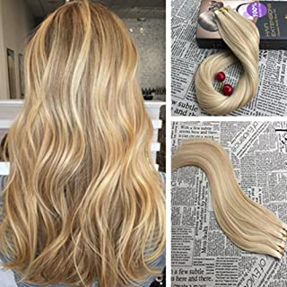 20\, 14/613: Moresoo 20 Inch Hair Dye Colorful Bleach Blonde (Color 613) Highlighted With Honey Blonde(Color 14) 100% Remy...