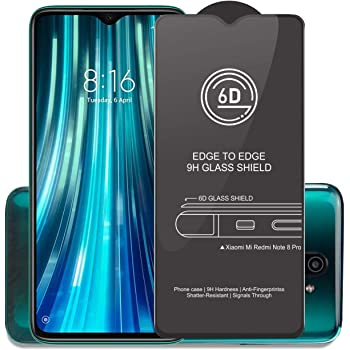 Affix Edge to Edge Tempered Glass for Xiaomi Mi Redmi Note 8 Pro with Easy Self Installation Kit (Black) Edge to Edge Full Screen Coverage - Pack of 1