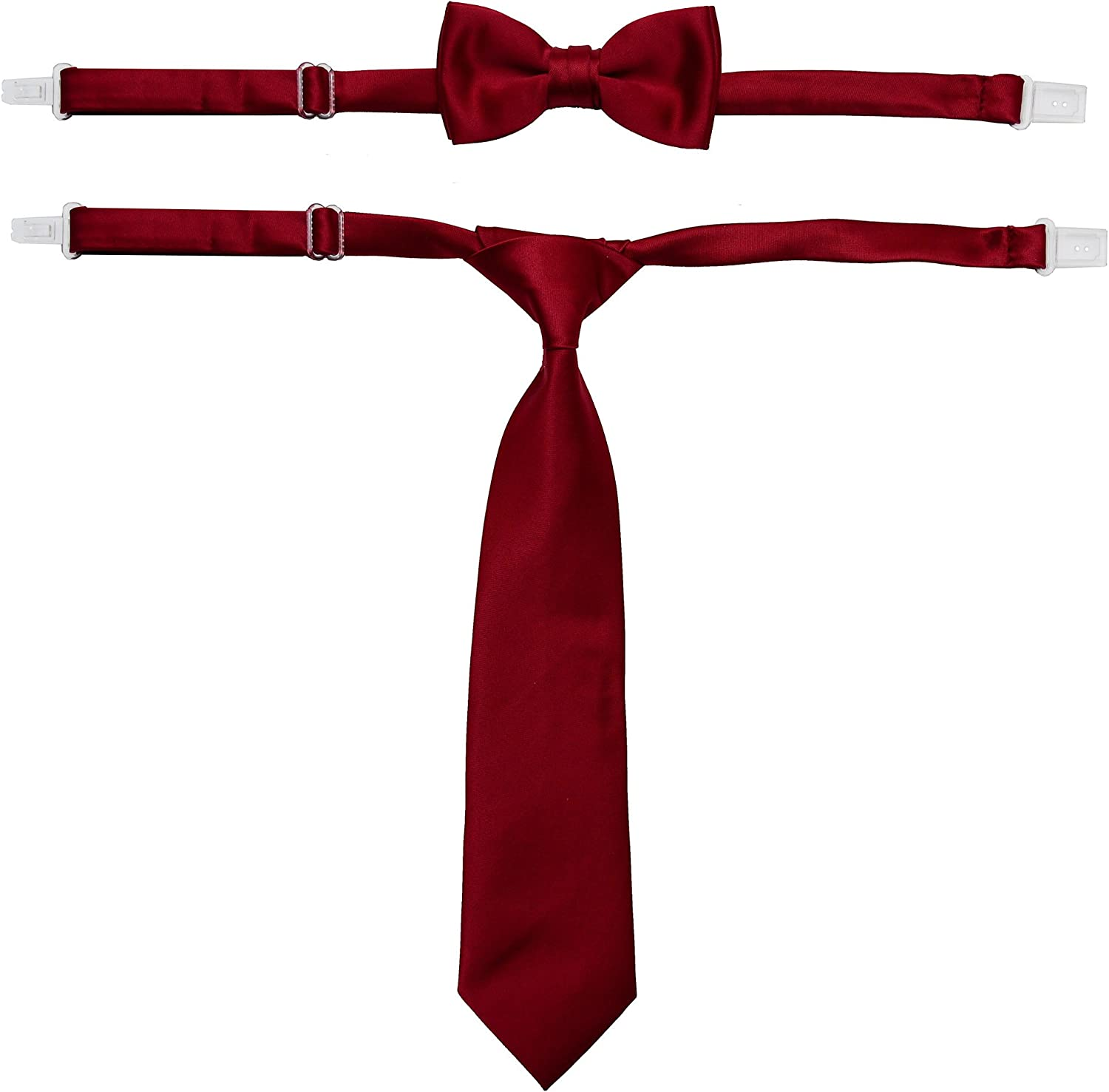 Johnnie Lene Boys Solid Satin Pre-Tied Long Necktie and Bow Tie Set