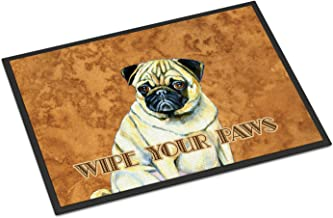 """Caroline's Treasures Fawn Pug Wipe Your Paws Indoor or Outdoor Mat, 18"""" x 27"""", Multicolor"""