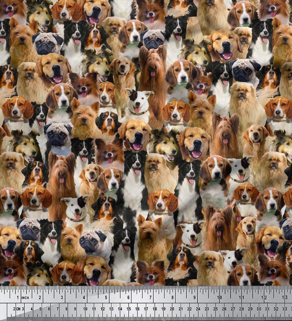 Soimoi Polyester Satin Fabric 105 GSM Print Easy-to-use Wide Max 79% OFF C 44 Inches Dog