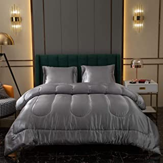 Grey Satin Comforter Set Silk Like Satin Comforter Light Grey Silky Duvet Set Solid Simple Satin Microfiber Filling Beddin...