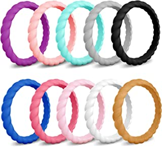 COOLOO Silicone Wedding Ring for Women, 10 Packs Thin Stackable Braided Rubber Wedding Bands, Comfortable Durable, Affordable Fashion Elegant, Skin Safe