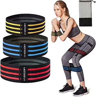 Merisny Resistance Bands for Legs and Butt, Fabric Resistance Bands Workout Anti Slip Fitness Bands Exercise Resistance Bands Set for Body Stretching, Yoga, Pilates, Muscle Training