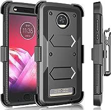 Moto Z2 Force Case, Motorola Moto Z2 Play Holster Clip, Tekcoo [Tshell] Shock Absorbing [Built-in Screen] Secure Swivel Locking Belt Defender Full Body Kickstand Carrying Sturdy Cases Cover -Black