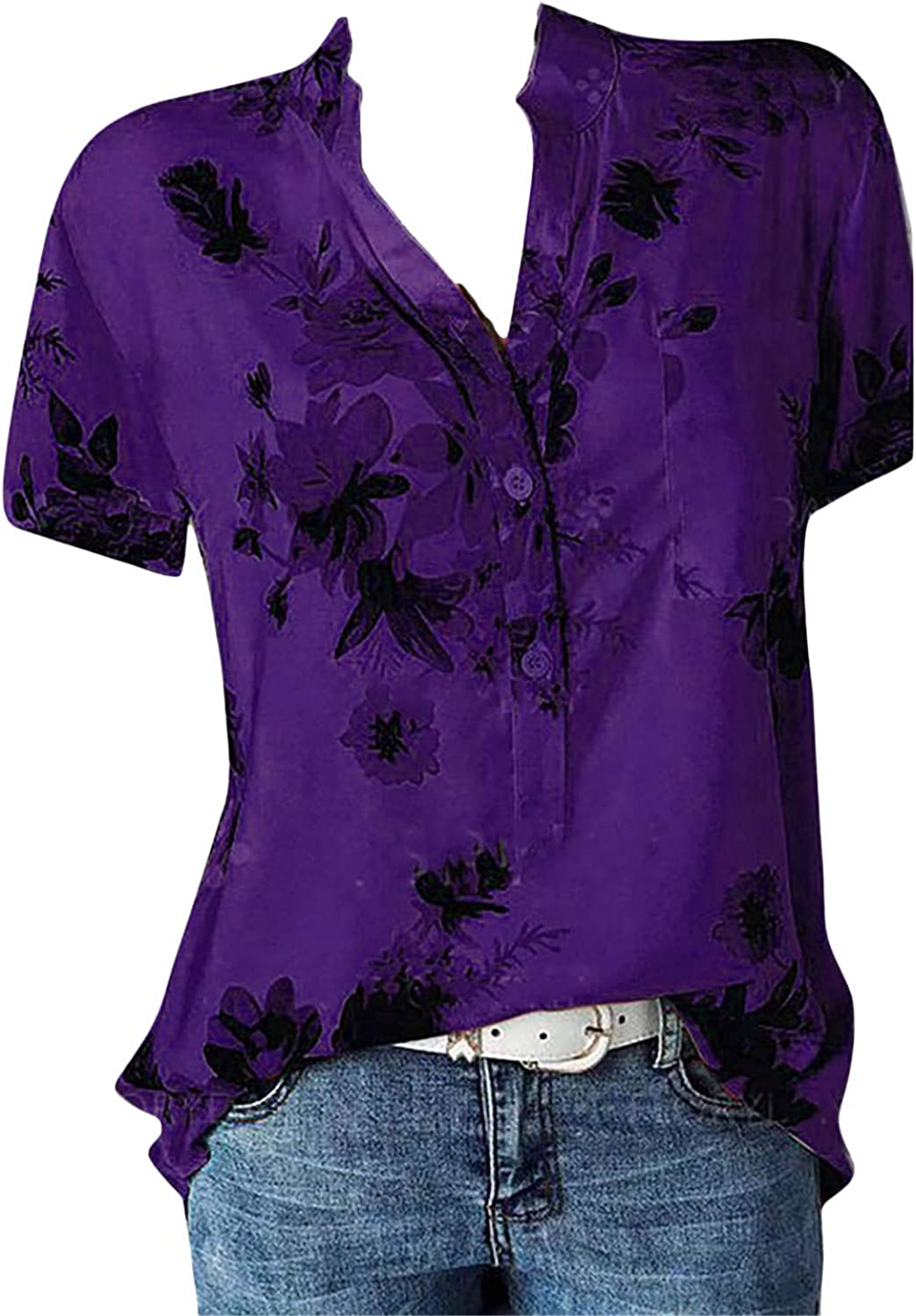 Andongnywell Womens Loose Blouse Short Sleeve V Neck Button Down T Shirts Casual Tops
