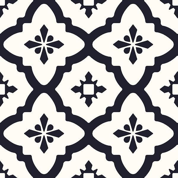 FloorPops FP2480 Comet Peel Stick Tiles Floor Decal Black