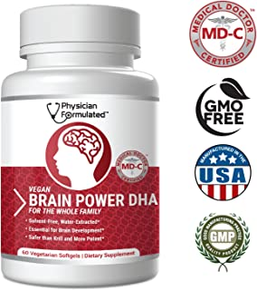 Physician Formulated 1000mg Dhax Vegan Dha, Prenatal Dha, Md-Certified with 3X More Dha Than Krill Oil Vegetarian Algae Based Omega Essential Fatty Acids, Omega 3, 2500mcg Astaxanthin - 60 Capsules