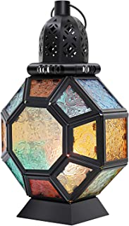 Lewondr Retro Iron Candle Lantern, 14.6 Inch Portable Moroccan Wrought Iron Stained Glass Candle Holder Hanging Lamp Horse...