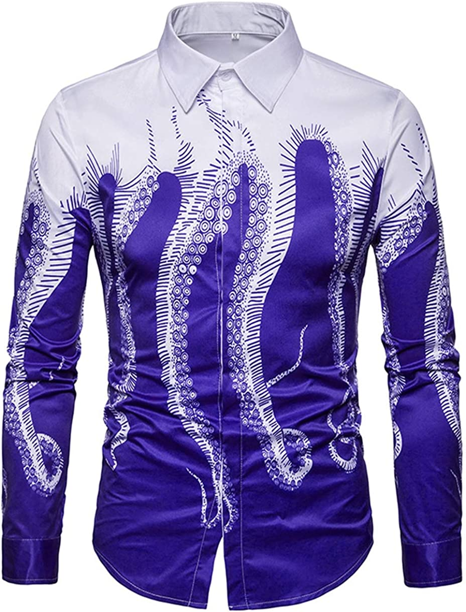 Men's Shirts Casual Fashion Classics Octopus Foot Digital Print Long Sleeve Shirts Shirts Simple and Wild