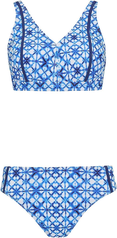 Nicola Jane Damen Bikini-Set Blau blau wei