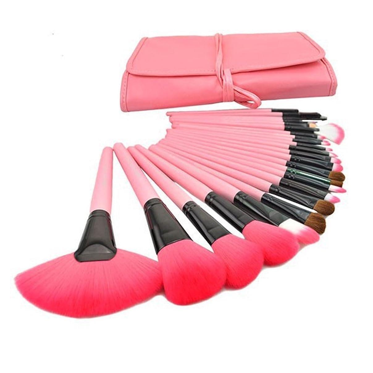 辞任する正しくZumZup メイク ブラシ 24本セット 化粧ブラシ 化粧筆 メイクブラシセット セット コスメ ブラシ 超柔らかい 収納ケース付き (24本, ピンク)
