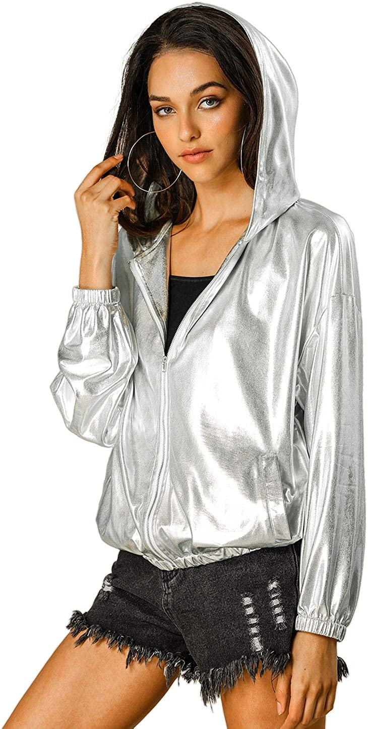 Allegra K Women's Holographic Limited price sale Shiny Long Sleeve Max 71% OFF Hooded Me Zipper
