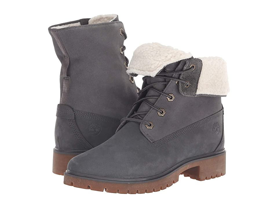 Timberland Jayne Waterproof Teddy Fleece Fold Down (Dark Grey Nubuck) Women