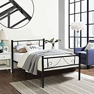 GreenForest Twin Bed Frame Metal Platform with Stable Metal Slats Stable Headboard and Footboard/Black