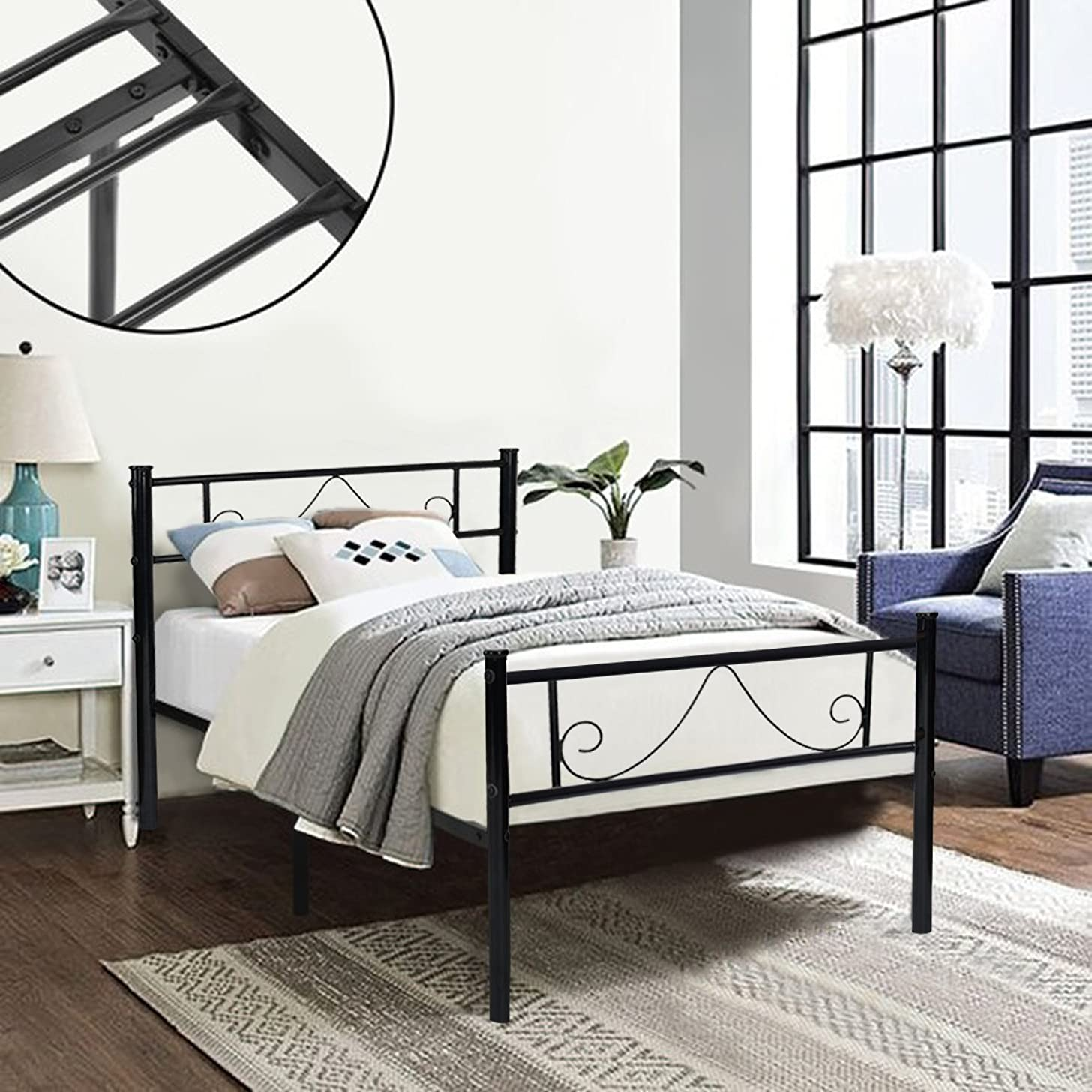 GreenForest Twin Bed Frame Metal Platform with Stable Metal Slats Stable Headboard and Footboard/Black,Twin