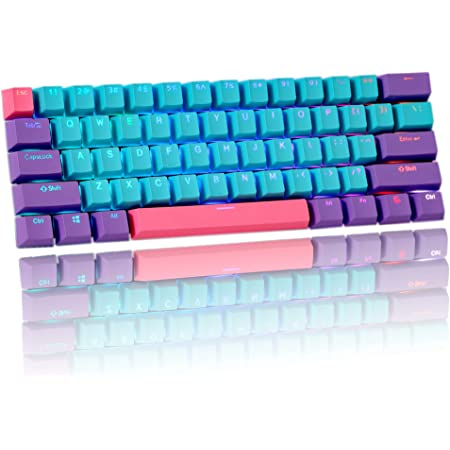 HYSSP 61 teclas PBT transparentes teclas, 60% mecánico teclado OEM, teclas de diseño ANSI, adecuado para Cherry MX Switch/RK 61/Anne pro 2/Ducky one 2 ...