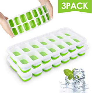 Ice Cube Trays, Silicone Easy-Release and Flexible 14-Ice Trays with Spill-Resistant Removable Lid, BPA Free, Durable and Dishwasher Safe, 3 Pack