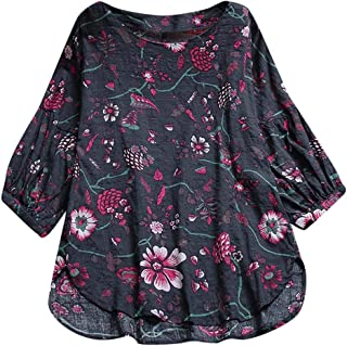 2ef9cbb4ae ❤️Binggong Chemisier Femme Manches Longues Imprimé Tunique Button Up Shirt  Rayé Chemise Col Rond Top