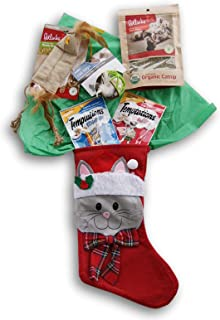 Jumping Daisy Holiday Christmas Kitty Cat Stocking Gift Filled with Treats - Certified Organic Catnip, Two Cat Toys, Two Temptations Treat Bags