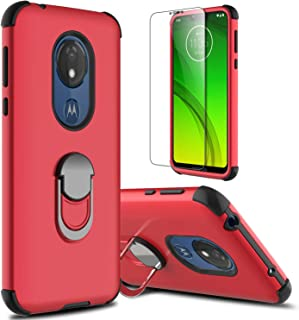 lovpec Moto G7 Power Case, Moto G7 Supra Case with Soft TPU Screen Protector, Moto G7 Optimo Maxx Case, Ring Magnetic Holder Kickstand Protective Phone Cover Case for Motorola Moto G7 Power (Red)
