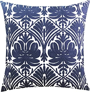 SLOW COW Cotton Embroidery Throw Pillow Cover Geometric Rose Navy Decorative Cushion Cover for Sofa 18x18 Inches
