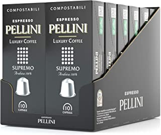 Pellini Caffè, Espresso Luxury Coffee Supremo, Capsules auto-protégées COMPOSTABLES et compatibles avec machines Nespresso...