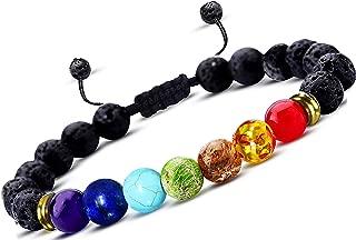 Roman Ventures Essential Oil Diffuser Bracelet- 7 Chakra Lava Stone Bracelet- Aromatherapy Chakra Bracelet- Healing Stones Anxiety Bracelet- Just Add Oil to Lava Beads to Improve Focus & Mood