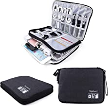 Travel Electronics Accessories Organizer Bag , Two-layers Portable Cord Usb Charging Cable Chargers Storage Gadget Bag Must Haves Tech Gifts for Men and Women (L.Black)