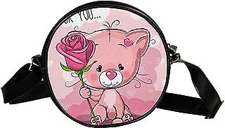 Yuzheng Runde Umhängetasche Rosa Galaxie Handtaschen mit Lederriemen für Damen 17cm