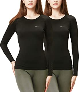 Women's 2 Pack Thermal Heat-Chain Compression Baselayer Tops Long Sleeve T-Shirts