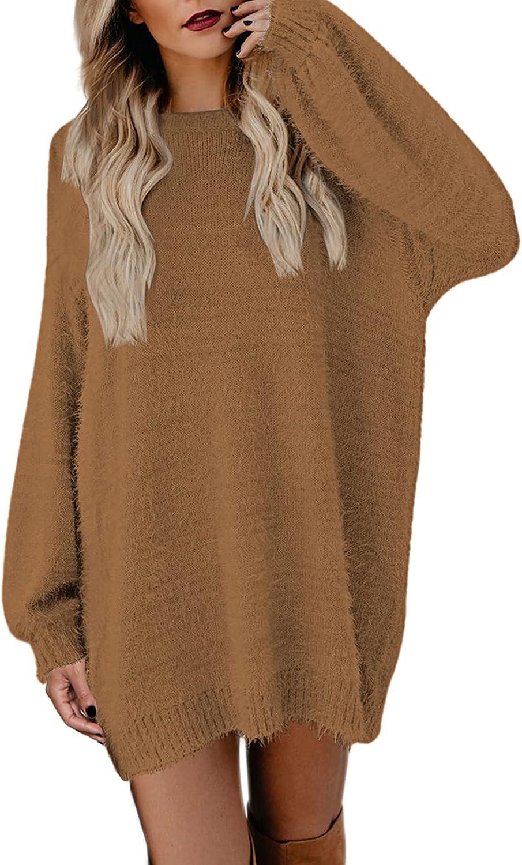 Cutiefox Women's Furry Oversized Crew Neck Pullover Sweater Mini Dress