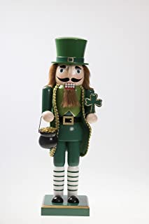 Clever Creations Traditional Irish Wooden Christmas Nutcracker Festive Holiday Decor   Wearing Green Holding Shamrock and Pot of Gold   Luck of The Irish   100% Wood   14