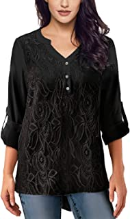 Womens Casual Long Sleeve Solid Cuffed Button Floral Lace Chiffon Blouses Top