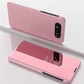 Funda para Samsung Galaxy A80 Cover de Espejo Elegante de Función Inteligente para Dormir Despertar Vista Inteligente Carcasas para Samsung Galaxy A80(Oro Rosa)