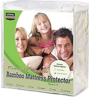 Utopia Bedding Bamboo Mattress Protector – 100% Waterproof – Mattress Cover (Full)