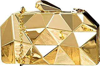 47ac5d9027f Tooba Women's Handicraft Party Wear Diamond Cut Box Bridal, Casual Clutch  Metallic Gold Bag Purse
