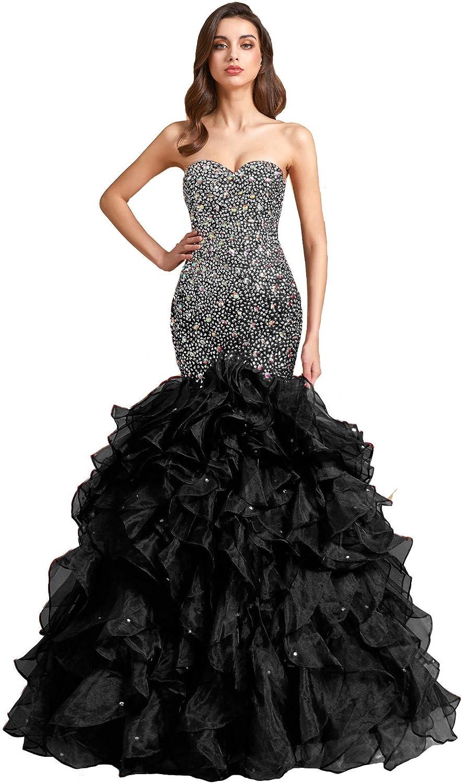Lemai Crystals Long Mermaid Ruffles Corset Formal Prom Evening Dress