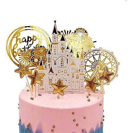 Princess Castle Gold Glitter Acrylic Brithday Cake Topper
