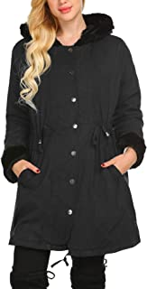 Womens Parka Jacket Hooded Winter Coats Faux Fur Coat Long Sleeve Overcoat Jacket