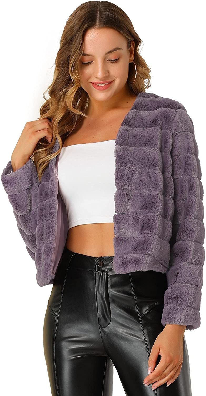 Allegra K Women's Winter Warm Cropped Jacket Collarless Faux Fur Fluffy Coat