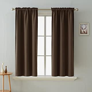 Deconovo Blackout Curtains Room Darkening Thermal Insulated Curtain Panels Rod Pocket for Living Room Chocolate 38 x 45 Inch 2 Panels