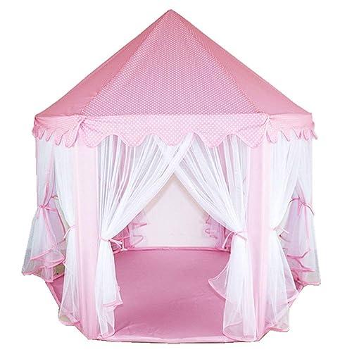 MultiWare Tente de Jeu Enfant Princesse Tente Grand Château de Princesse Prince d'Hexagones Cadeau Garçons Filles Rose