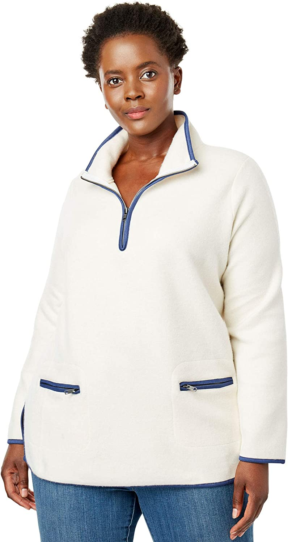 Woman Within Women's Plus Size Quarter-Zip Microfleece Mock Neck Sweatshirt