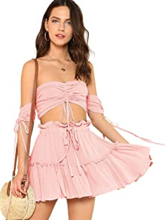 Women's Two Piece Outfit Off Shoulder Drawstring Crop Top and Skirt Set